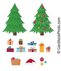 Christmas tree, gift boxes, santa claus hat, christmas decorations