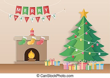 Christmas tree, gifts and decorated fireplace for season's...