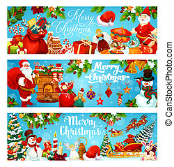 Christmas tree with gift, snowman and Santa banners of winter holiday. Xmas tree and holly berry with bell, snowflake and ribbon bow, hat, candy and sock, star, sleigh and snow for Xmas design