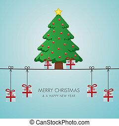 christmas tree gifts hanging on twine