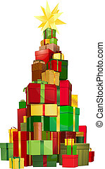 Christmas tree gifts - Illustration of a stack of gifts ...