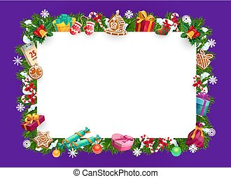 Christmas tree, gifts, presents wreath. Xmas frame
