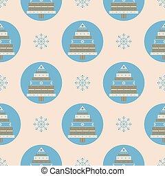 Christmas tree gifts seamless pattern.