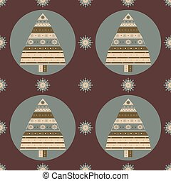 Christmas tree gifts seamless pattern.