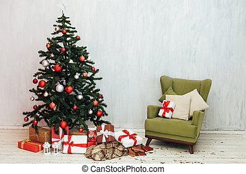 Christmas tree gifts winter background holiday new year