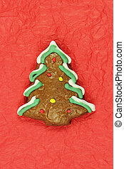 christmas tree gingerbread on red background