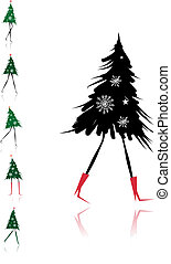 Christmas tree girl for your design