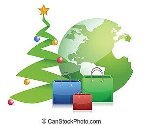 christmas tree globe and presents