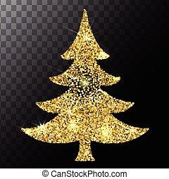 Christmas tree gold glitter vector background. Eps