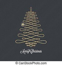 Christmas tree golden design on black background