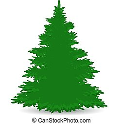Christmas tree, green, lush, silhouette on white background, vector