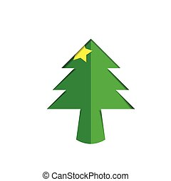 Christmas tree green paper cutout with star