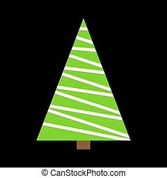Christmas Tree Green Simple Outline Design Isolated On Black Background