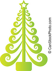 Christmas tree green swirly vector