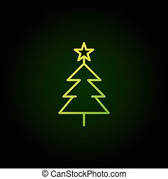 Christmas tree green vector line icon on dark background