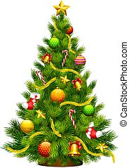 Christmas tree green, with toys, cartoon on white background,