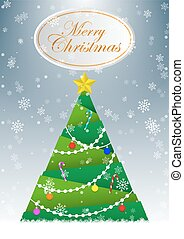 Christmas tree greeting card vector background