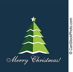 Christmas Tree greetings card vector