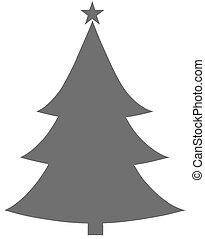 Christmas Tree Grey Flat Icon On White Background