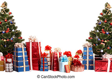 Christmas tree group,  gift box.  Isolated.