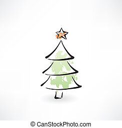Christmas tree grunge icon