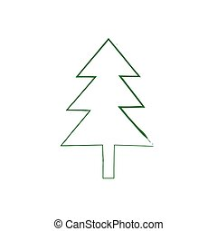 Christmas tree grunge silhouette. Vector new year spruce....