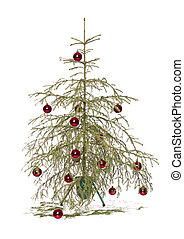 Christmas tree - Half dead christmas tree isolated on a...