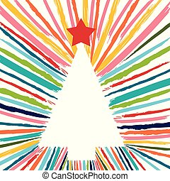 Christmas tree hand drawn with colorful brush