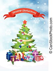 Christmas Tree Holiday Greeting Card Decoration Design