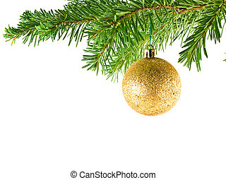 Christmas Tree Holiday Ornament Hanging from a Evergreen...