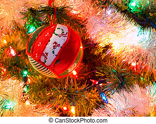 Christmas Tree Holiday Ornaments Hanging on a Tree