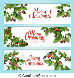 Christmas tree, holly berry banner for xmas design
