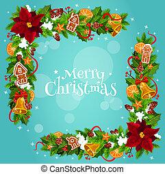 Christmas tree, holly berry garland frame corner