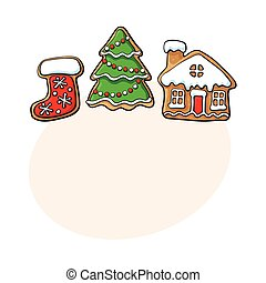 Christmas tree, house, boot gingerbread cookies - Set of...