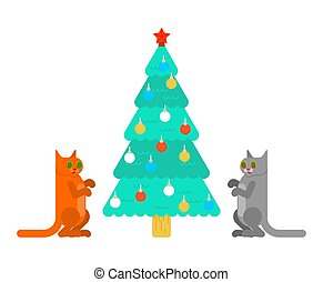 Christmas tree hypnotized cat. Eyes were spiraling. vector illustration?