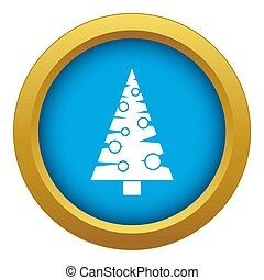Christmas tree icon blue isolated