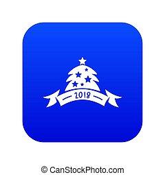 Christmas tree icon blue