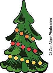 Christmas tree icon cartoon