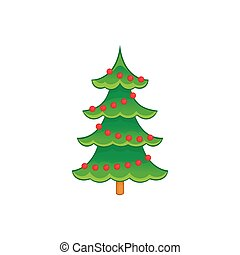 Christmas tree icon, cartoon style