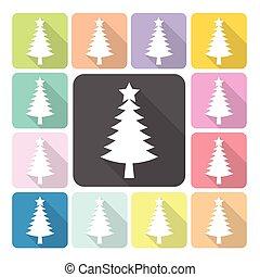 Christmas tree Icon color set vector illustration