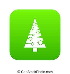 Christmas tree icon digital green