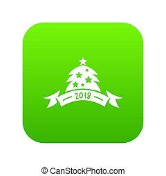 Christmas tree icon green
