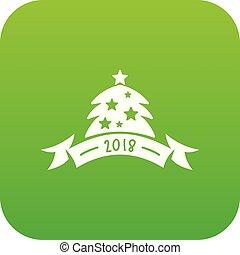 Christmas tree icon green vector