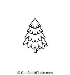 christmas tree icon in line art style. Vector illustration esp 10