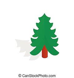 Christmas tree icon, isometric 3d style