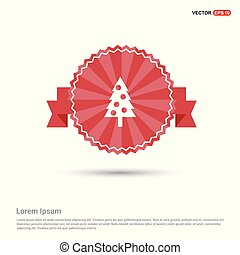 Christmas tree Icon - Red Ribbon banner