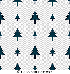 Christmas tree icon sign. Seamless pattern with geometric texture.