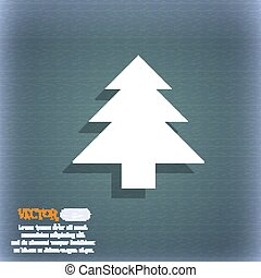 Christmas tree icon symbol on the blue-green abstract background with shadow and space for your text. Vector