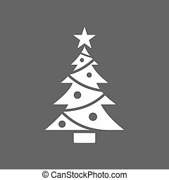Christmas tree icon with star on dark background