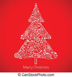 Christmas Tree - illustration of christmas tree made of ...